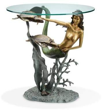 Photo of SPI Home Mermaid and Sea Turtles End Table | Wayfair