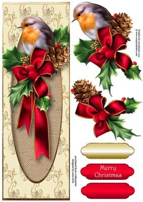 Robin With Red Bow Large DL on Craftsuprint designed by Anne Lever - This lovely large DL sized topper features a gorgeous robin with holly and a big red bow. It has decoupage, one greeting, and blank greetings tiles in a choice of two colours.  - Now available for download!