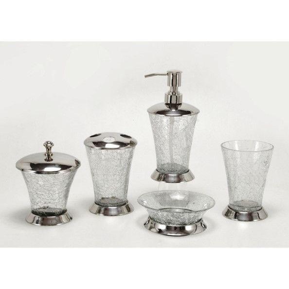 crackle glass bathroom accessories. Fashion Home Classic 5 Piece Crackle Glass Bathroom Accessory Set  Reviews