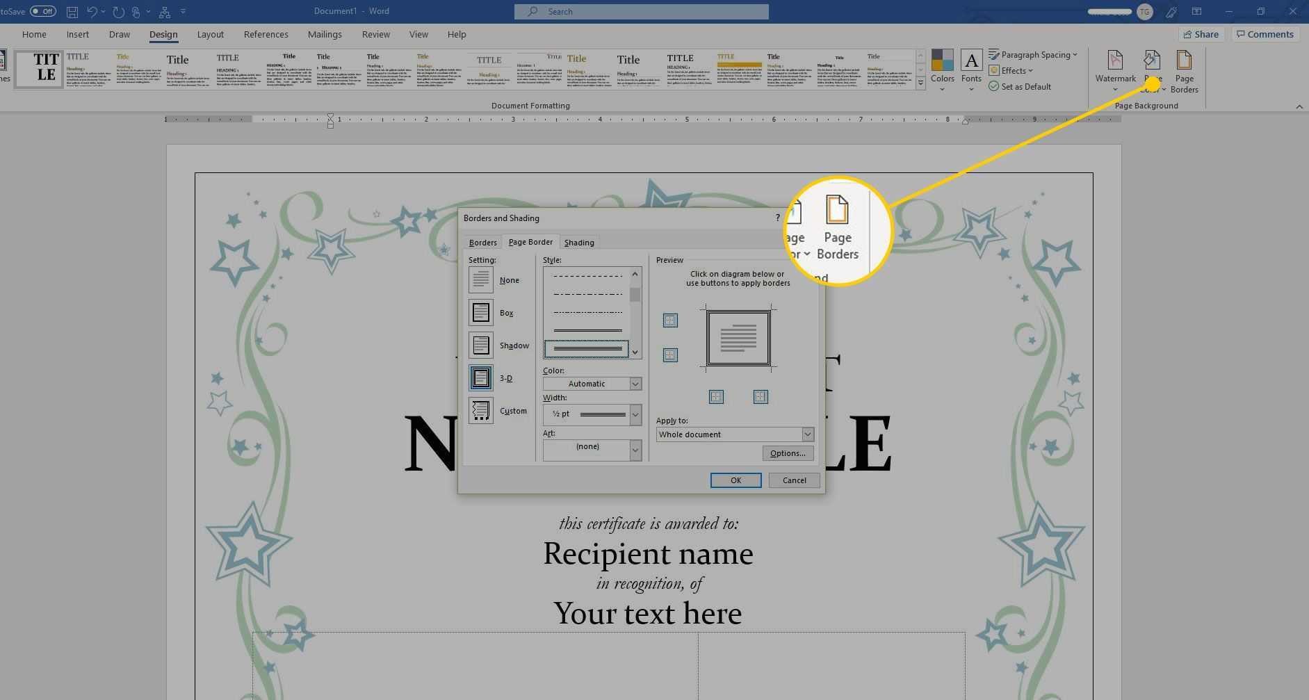 Using A Certificate Template In Microsoft Word Intended For Button Template For Word Professional Template Business Template Certificate Templates Templates
