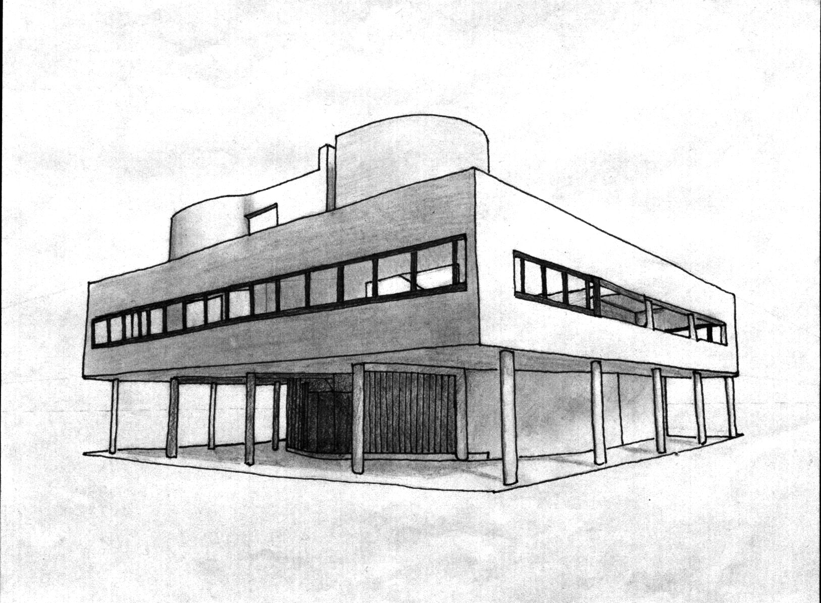 Villa savoye sketch architecture design drawing for Architecture design drawing