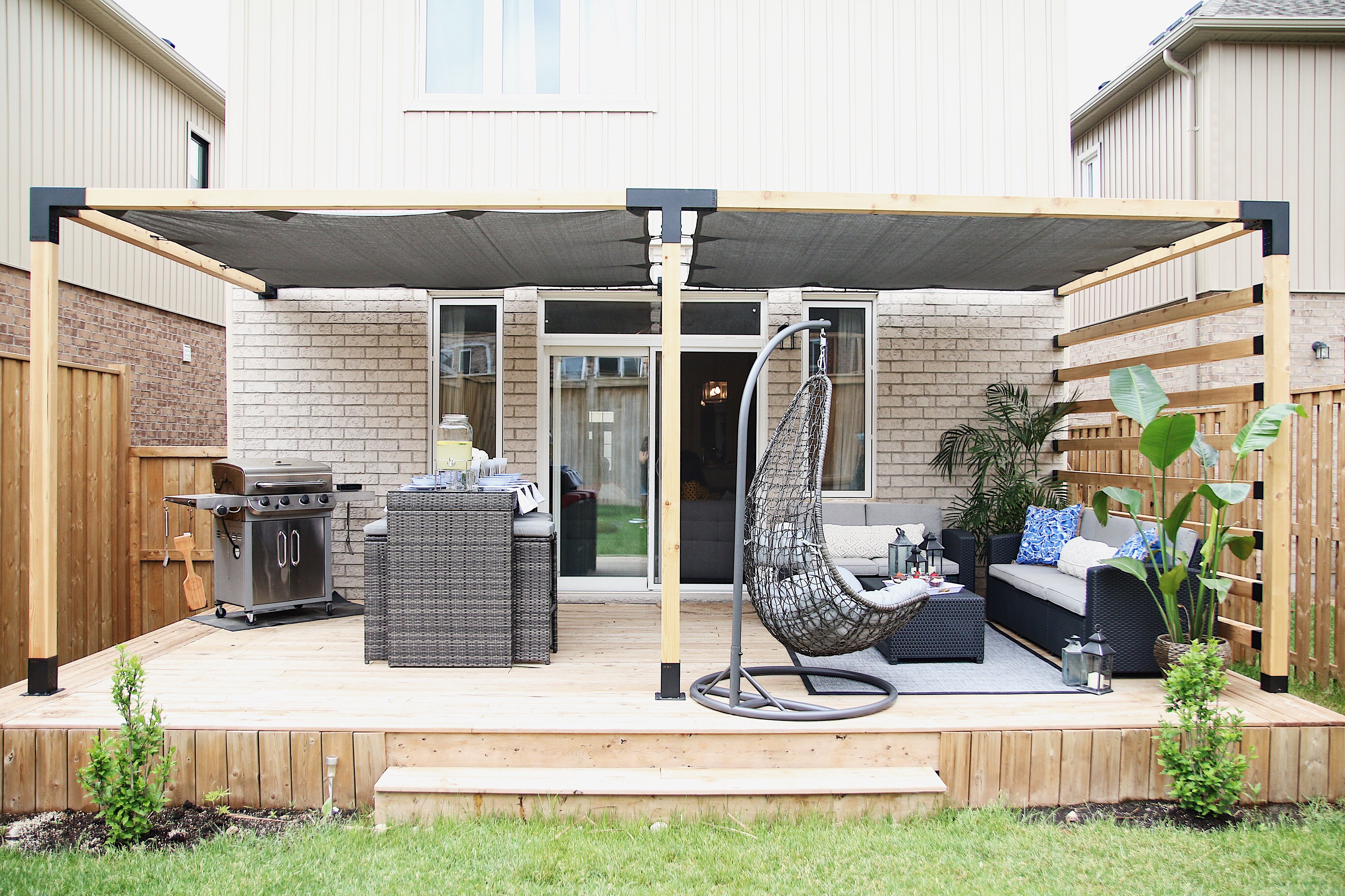 Double pergola with shade sail for 4x4 wood posts in 2019 ...