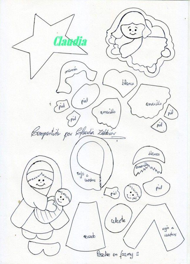 Patrones Dibujos De Navidad En Foami.Lindas Manualidades Moldes De Pesebre En Foamy Par