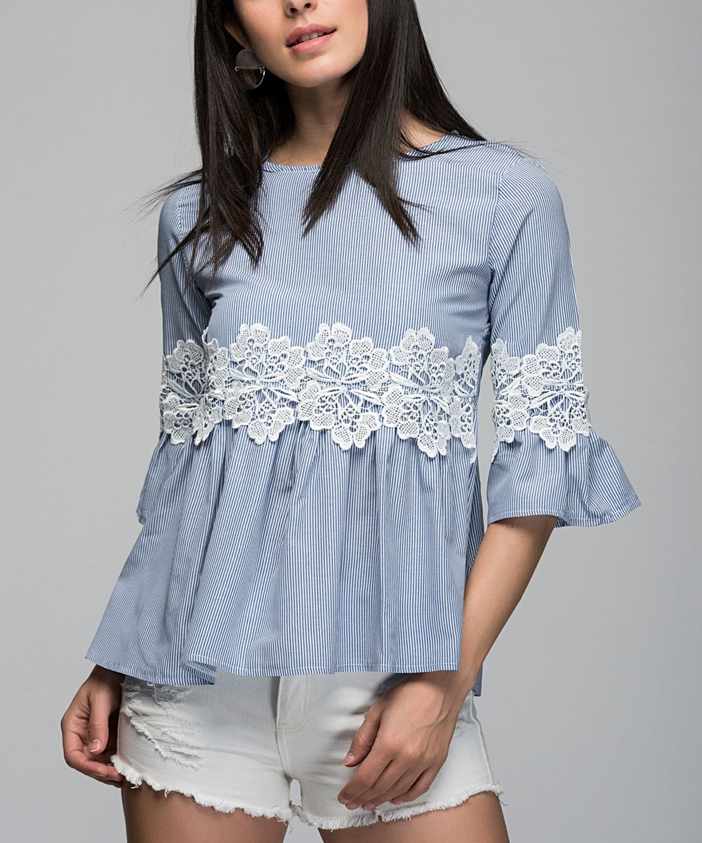 Blue Stripe Lace-Accent Ruffle-Sleeve Top