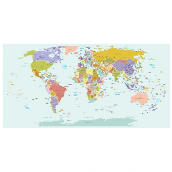 World map wallpaper mural for kids room wallpaper murals kids create a stunning feature wall in your kids room with our colourful world map wallpaper self adhesive map wallpaper is easy to install shop now gumiabroncs Gallery