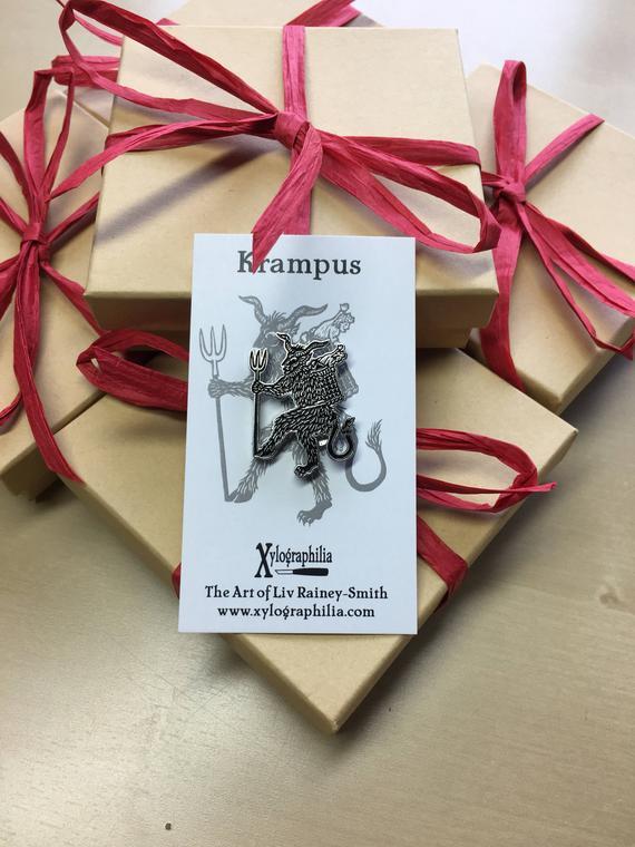 Krampus Christmas Devil enamel artist pin nickel free in 2018