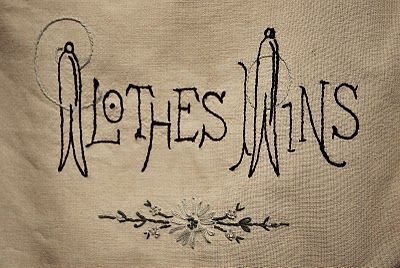 really liked the font on this embroidered clothespin bag