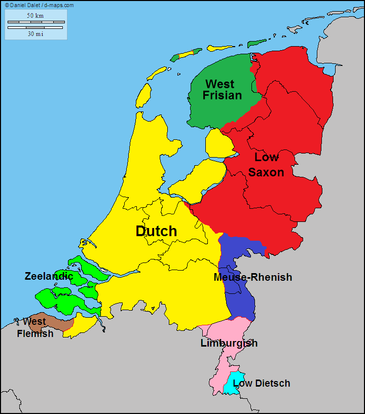 Main languages and dialects of the Netherlands. | Maps | Map ...