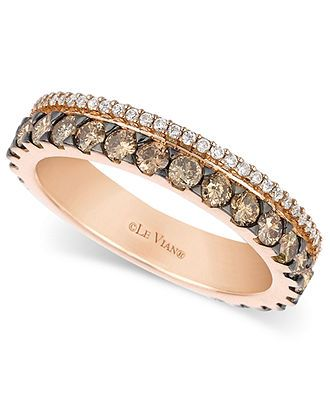 Le Vian 14k Rose Gold Ring Chocolate And White Diamond 2 Row Band