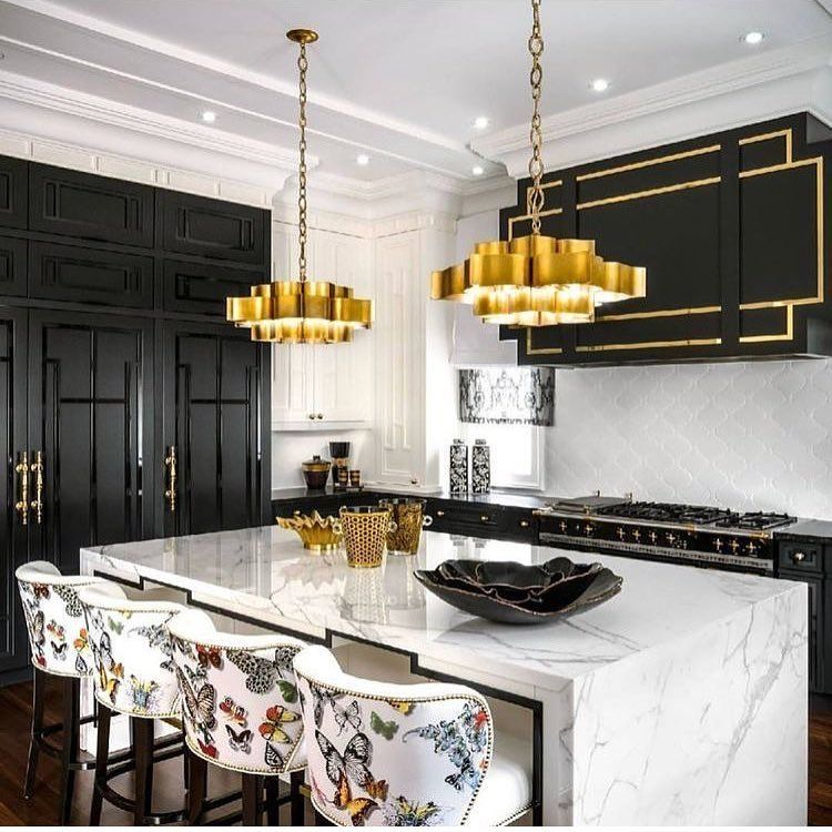 Best A Black And Gold Kitchen With Butterflies On The 400 x 300