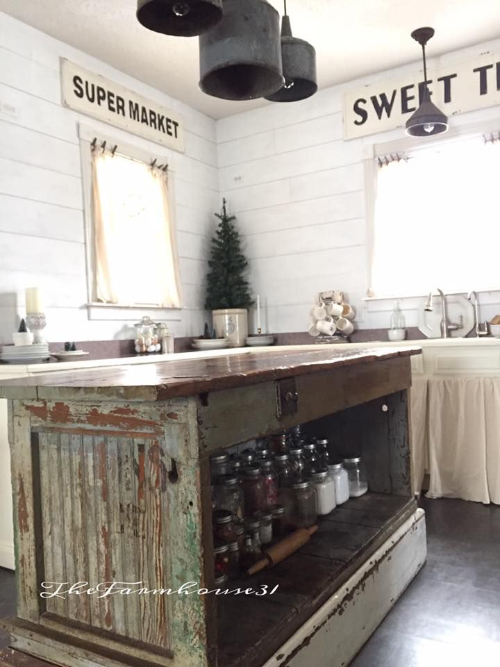 Antique Country Kitchen Cabinets Vintage Farmhouse Kitchen Islands: Antique Bakery Counter for Sale