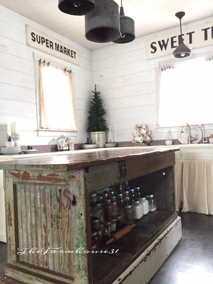 Vintage Farmhouse Kitchen Islands Antique Bakery Counter For Sale