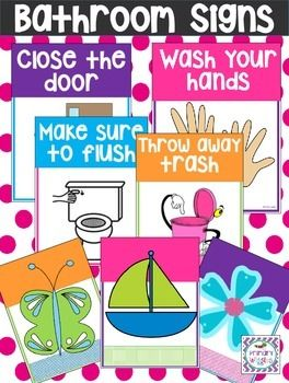 This Set Of Free Printable Bathroom Signs Is Perfect For The Classroom Or Home I Know Quite A Few Kids Who Dont Wash Their Hands Unless An Adult