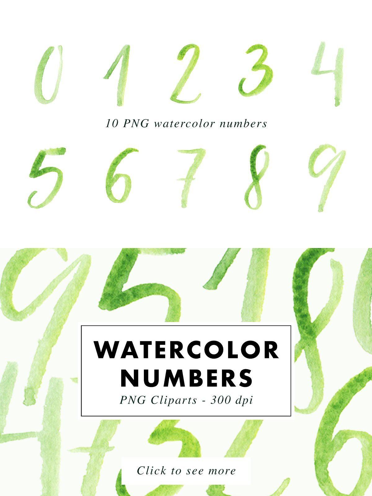 10 Watercolor Numbers Png Watercolor Clip Art Logo Design