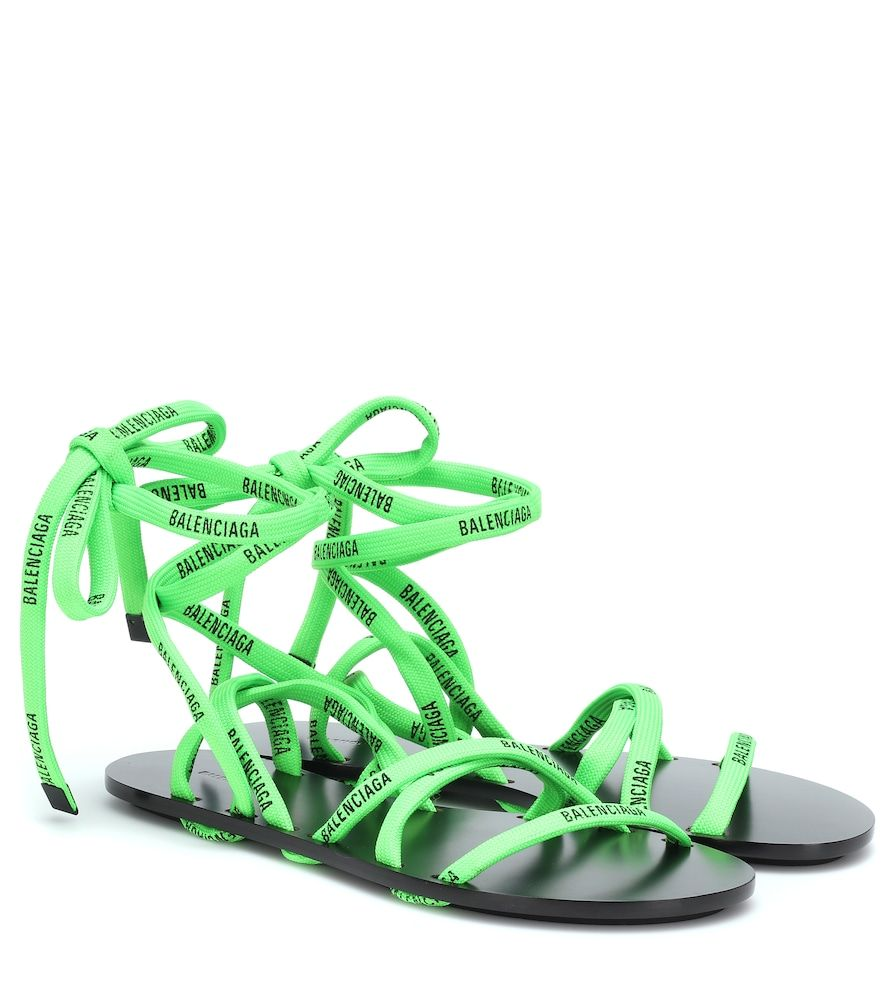 Balenciaga - Neon lace-up sandals