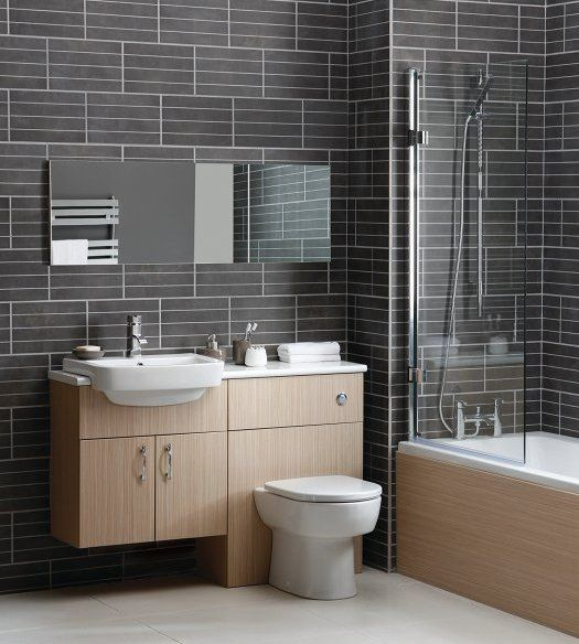 a toilet and a sink combo clad with light colored wood | bathroom ...