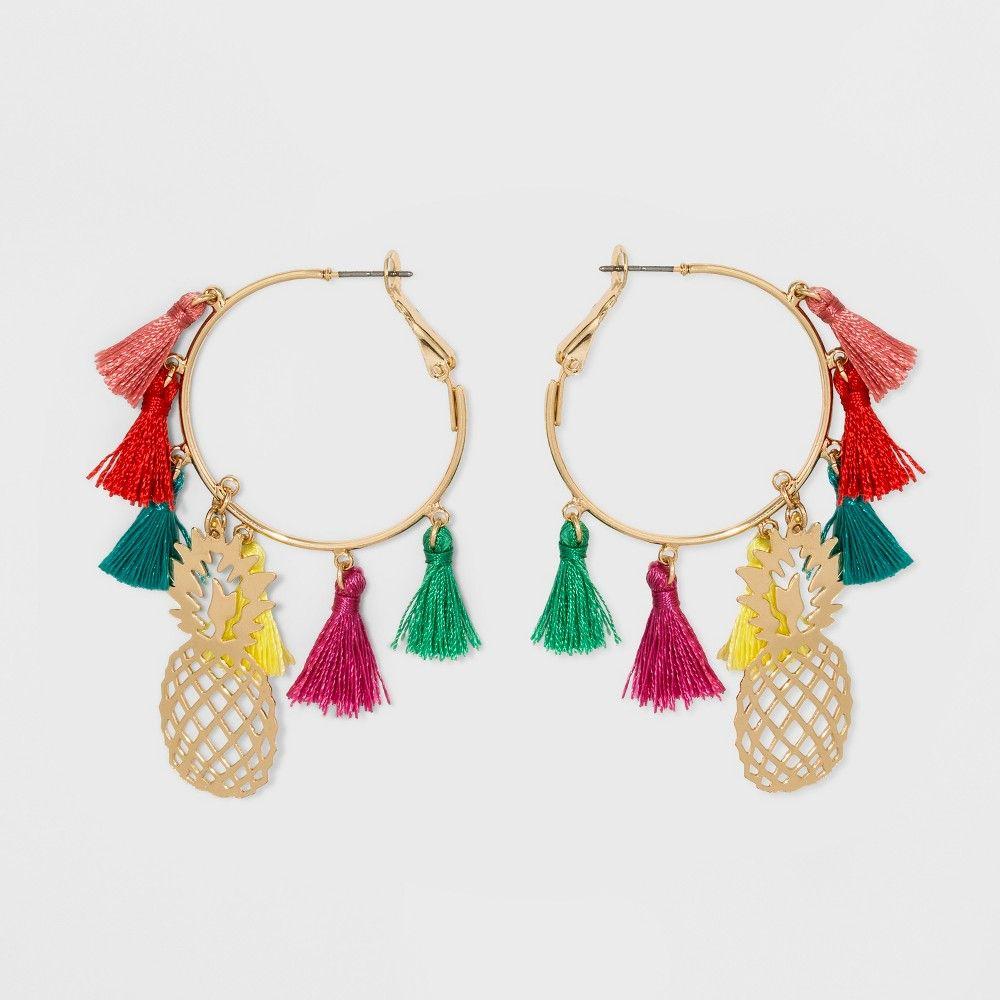 Sugarfix by BaubleBar Tassel Hoop Pineapple Earrings, Multi