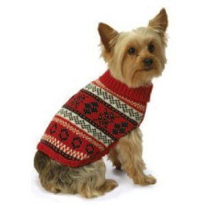 New York Dog Nordic Fair Isle Knit Pattern Mock Neck Sweater - Red ...