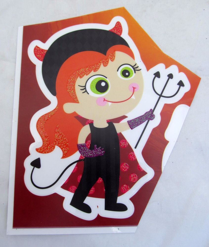 Halloween Girl She Devil pitch fork House Car Window Cling Decal Reusable NEW…