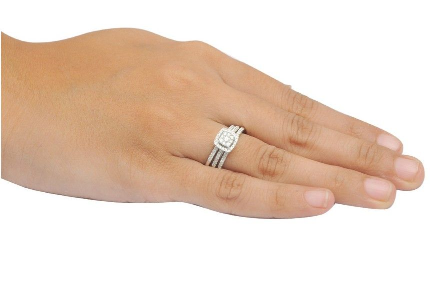 Carat trio wedding ring set for her in white gold jewelocean