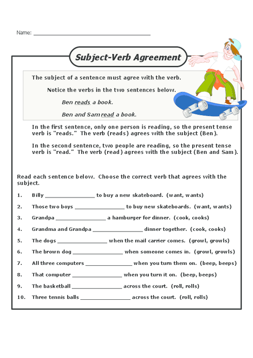 Practice creating the correct subjectverb agreement with this – Subject Verb Agreement Worksheets 2nd Grade