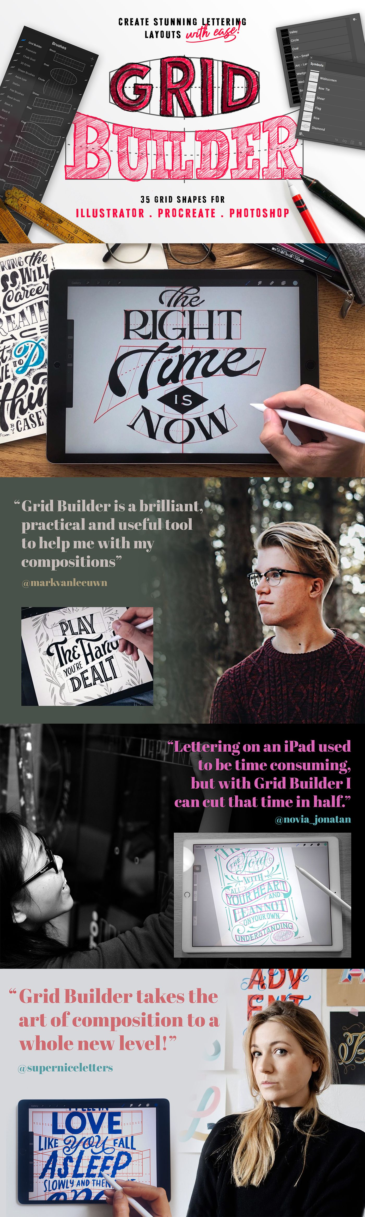 Grid Builder - Creating stunning lettering layouts has never been easier!  For Procreate, Photoshop & Illustrator