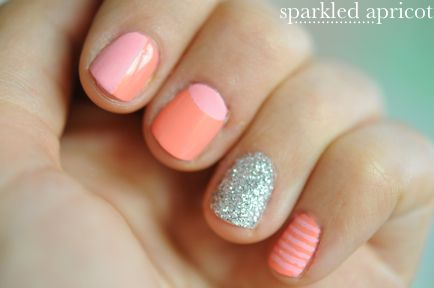 I just love these colors, and how cute is it that she put glitter on her engagement ring finger?  (I don't even wear nail polish, but I keep finding such fun ideas!)