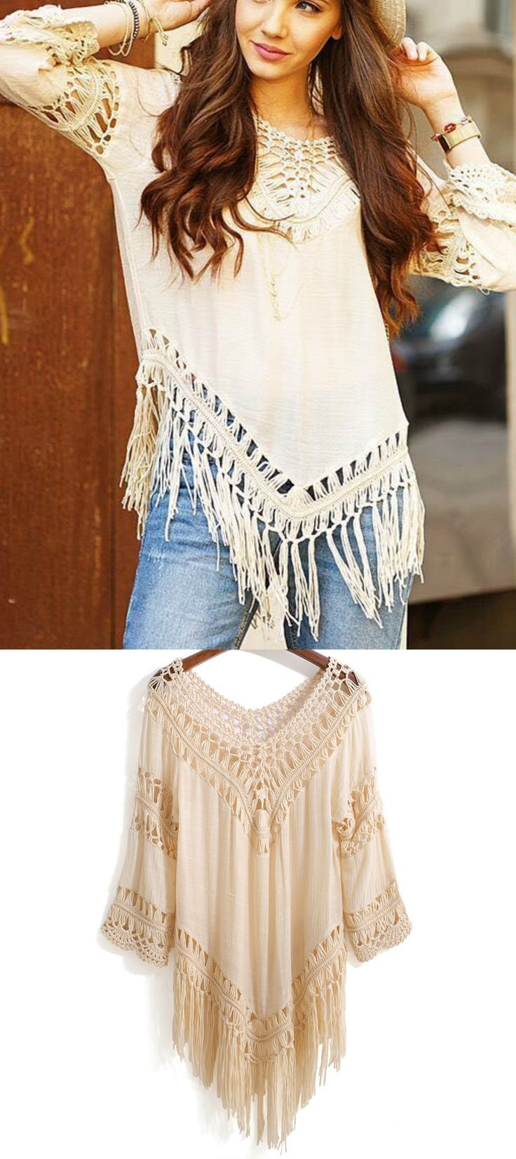 31 Bohemian Style Bedroom Interior Design: A Bohemian Fringe Blouse In Beige From Pasaboho