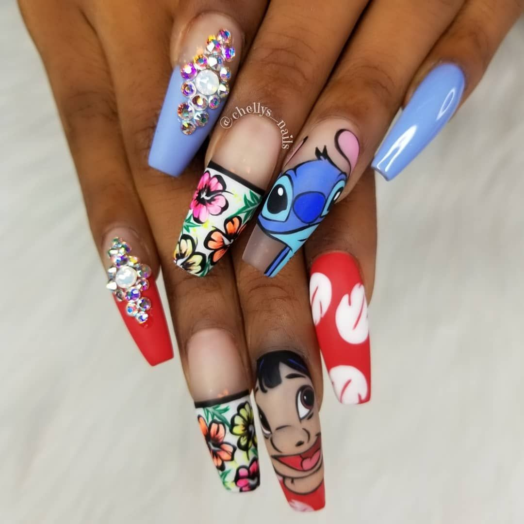 Lilo And Stitch Hand Painted Nail Art Vetro Usa Nails Chellysnails Nailpro Nailartaddict Va Disneyland Nails Disney Acrylic Nails Long Acrylic Nails