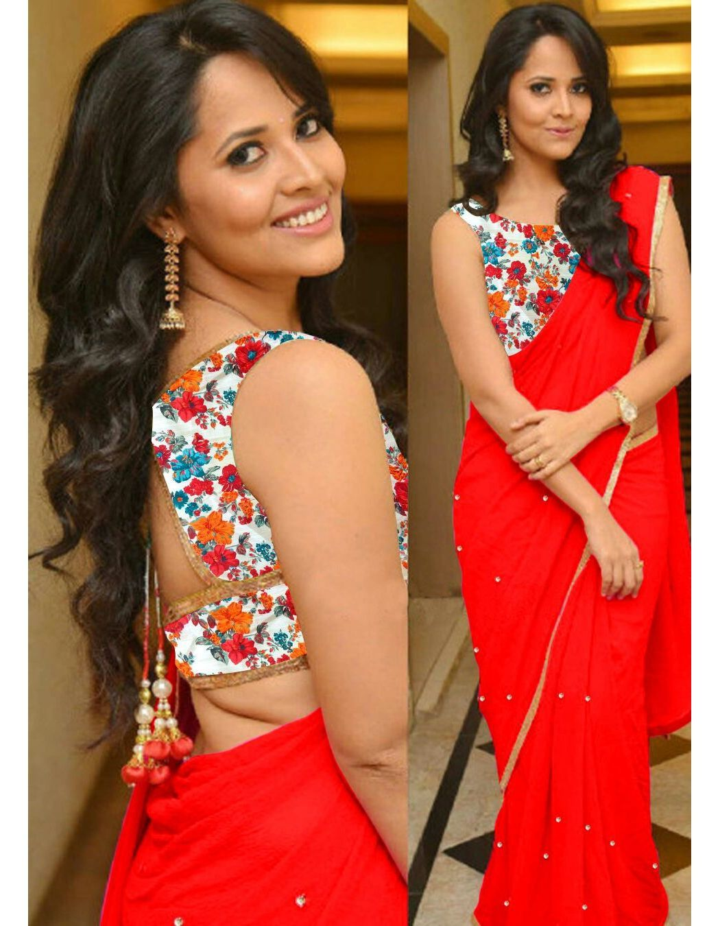 2fdb6313842cd9 Red Solid Georgette Plane Lace Border Saree With Blouse Piece  Looksgud.in   Red  Georgette  Saree