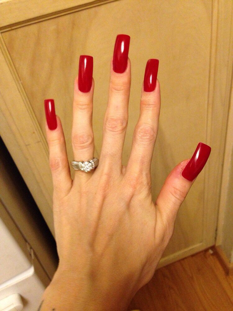 Pin by Airwrecka on Nails | Long red nails, Square acrylic ...