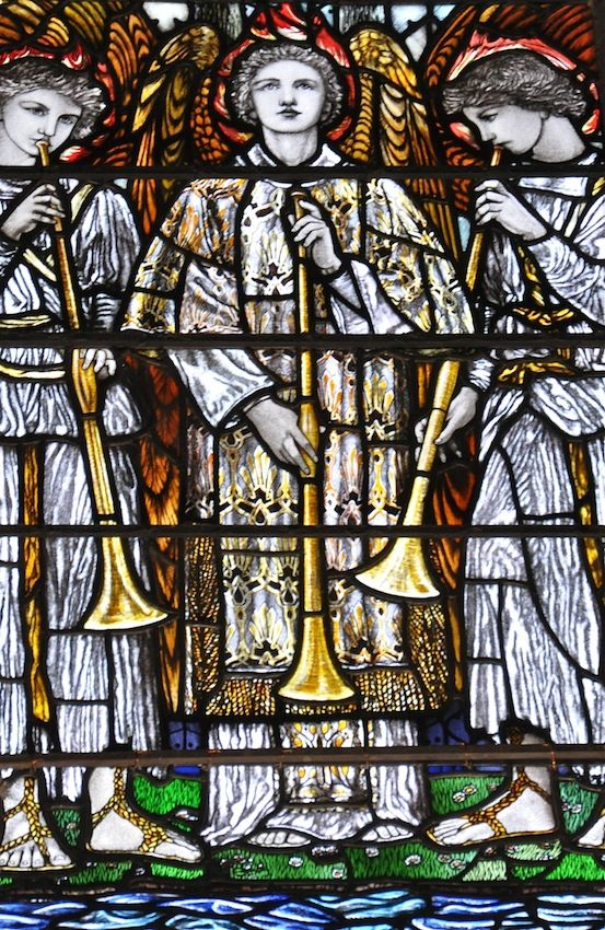 From Christopher Whall's beautiful memorial stained glass window in Worcester Cathedral, a set of horn blowing heavenly angels