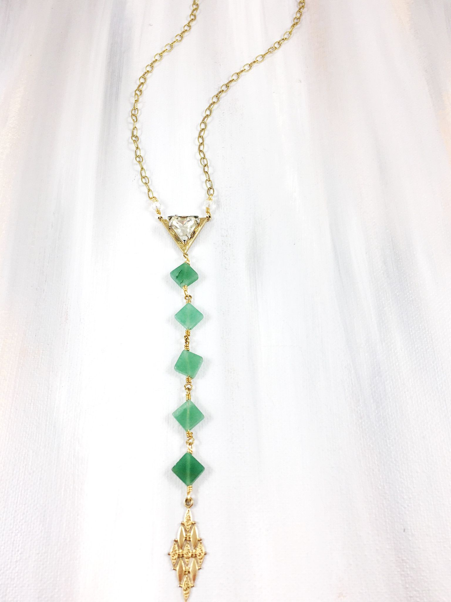 """""""Choral Adoration"""" - Mid century gold and rhinestone triangle pendant paired with carved jade beads and mid century gold drop on delicate antique brass chain"""