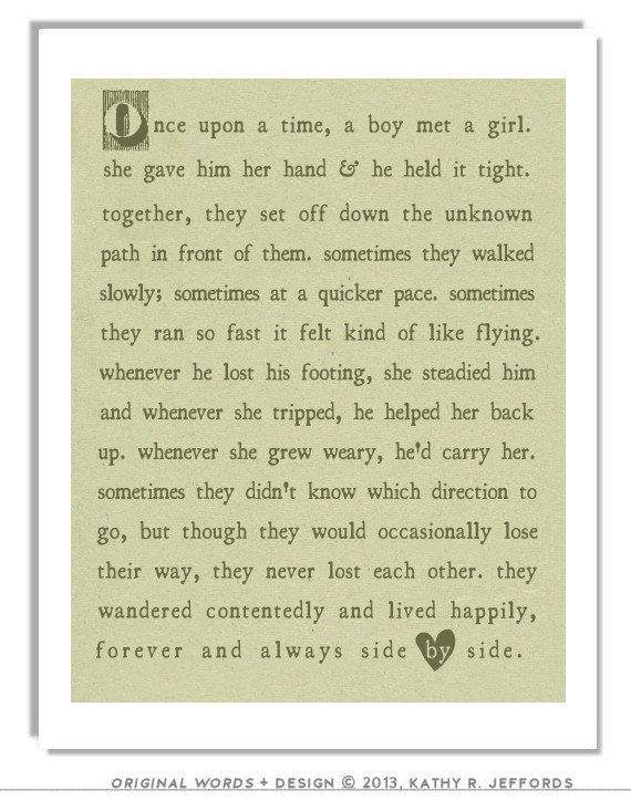 Sage Green Typographic Print Love Art For Newlyweds First Home Decor Fairy Tale Poem Wedding Gift Anniversary