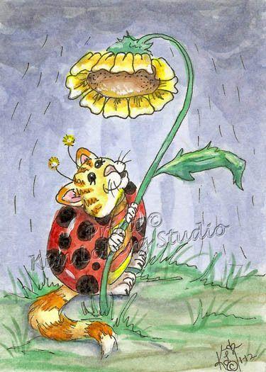 Cat Bug Umbrella flower aceo Print EBSQ Kim Loberg Fantasy insect Kitty Art rain #IllustrationArt
