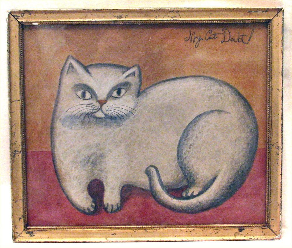 ANTONIO ROMANO listed artist, folk art watercolor CAT painting listed Naive in vintage gold leaf frame #primitive