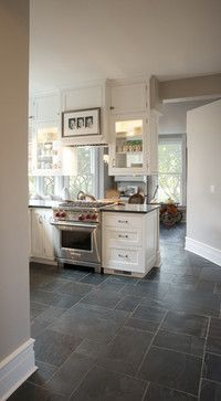 Kitchen Farmhouse Kitchen Design Ideas, Pictures, Remodel And Decor | Slate Floor Kitchen, Kitchen Flooring, Trendy Farmhouse Kitchen