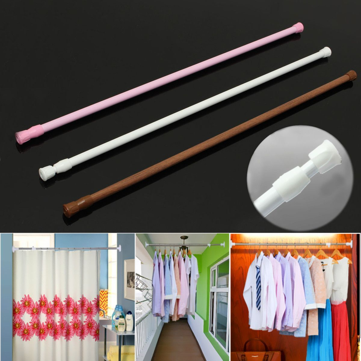 60 110cm Extendable Adjustable Spring Tension Curtain Rod Pole