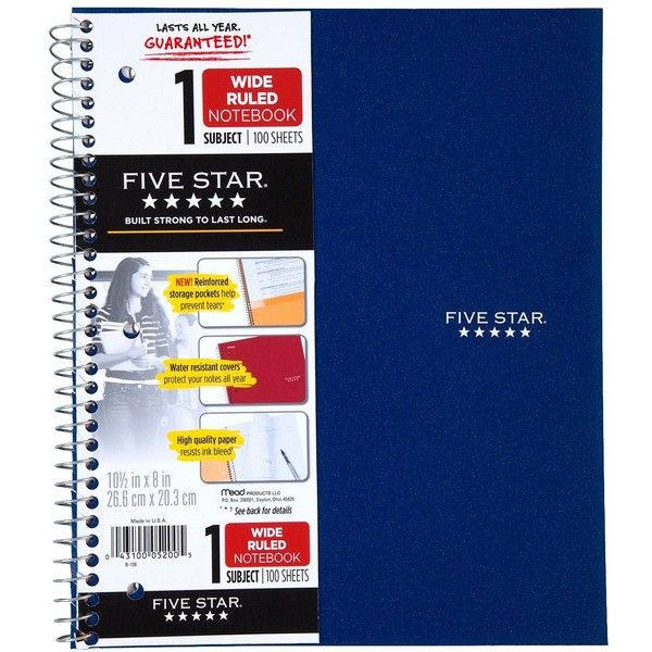 FiveStar 100ct 1-Subject Ruled Notebook Assorted Colors ($1.97) ❤ liked on Polyvore