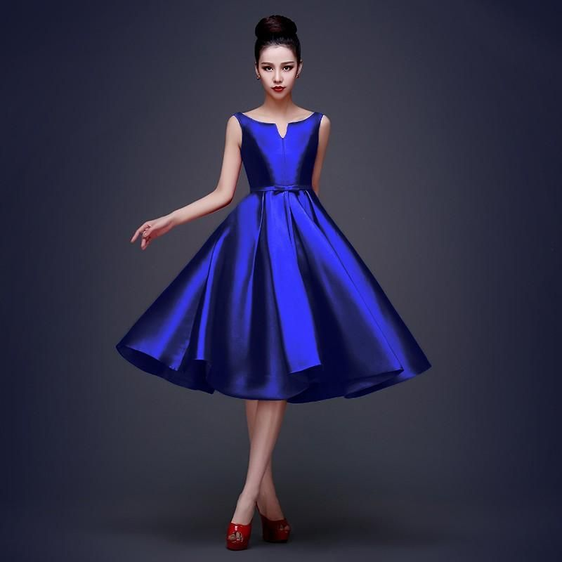 blue satin cocktail dress