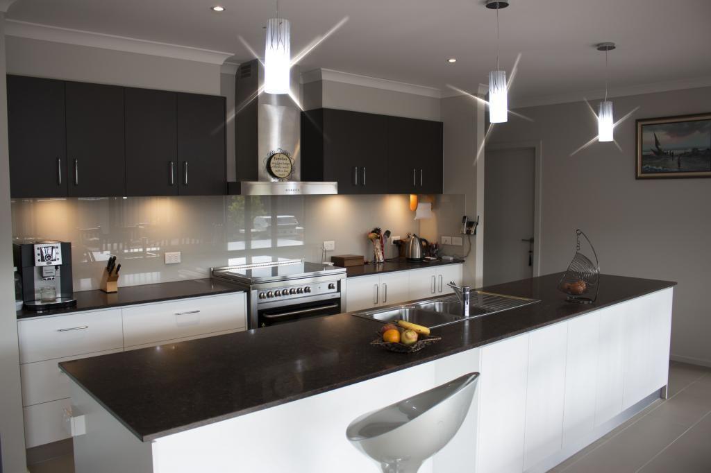 White Kitchen Black Benchtop cocoa fudge benchtop, wattyl alabaster cupboards | kitchen design
