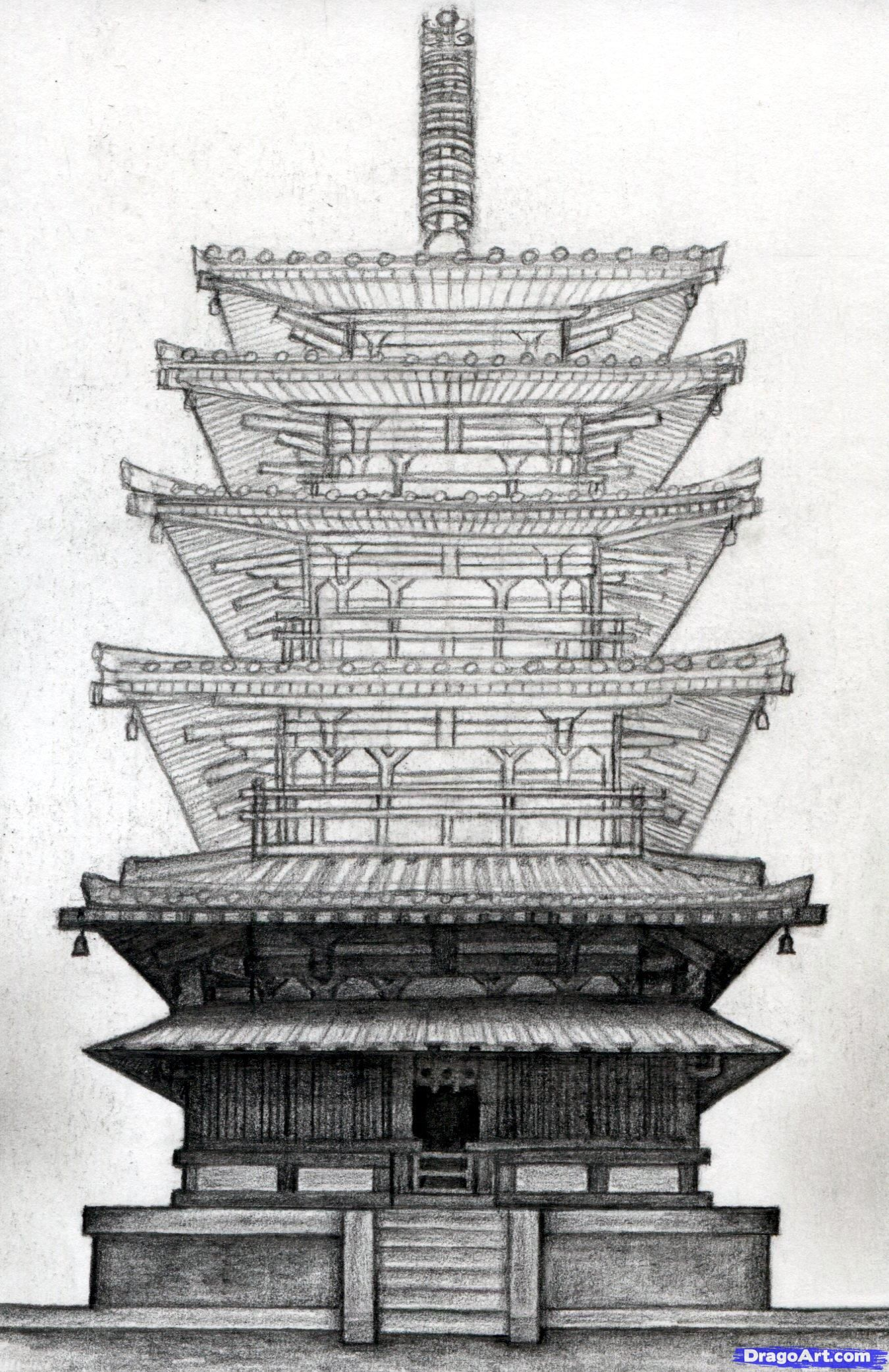 How to draw a pagoda japanese pagoda step 18