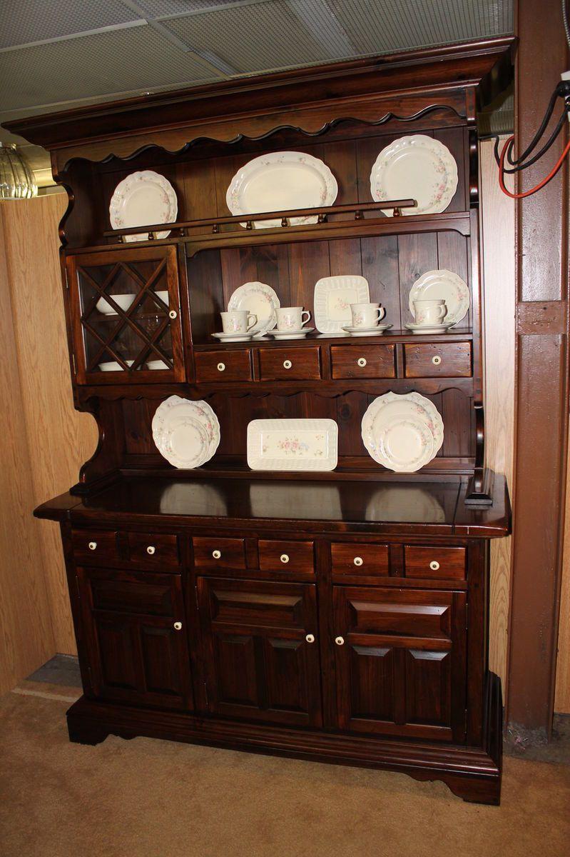 ETHAN ALLEN Vintage 1970s Antique Pine China Cabinet Hutch