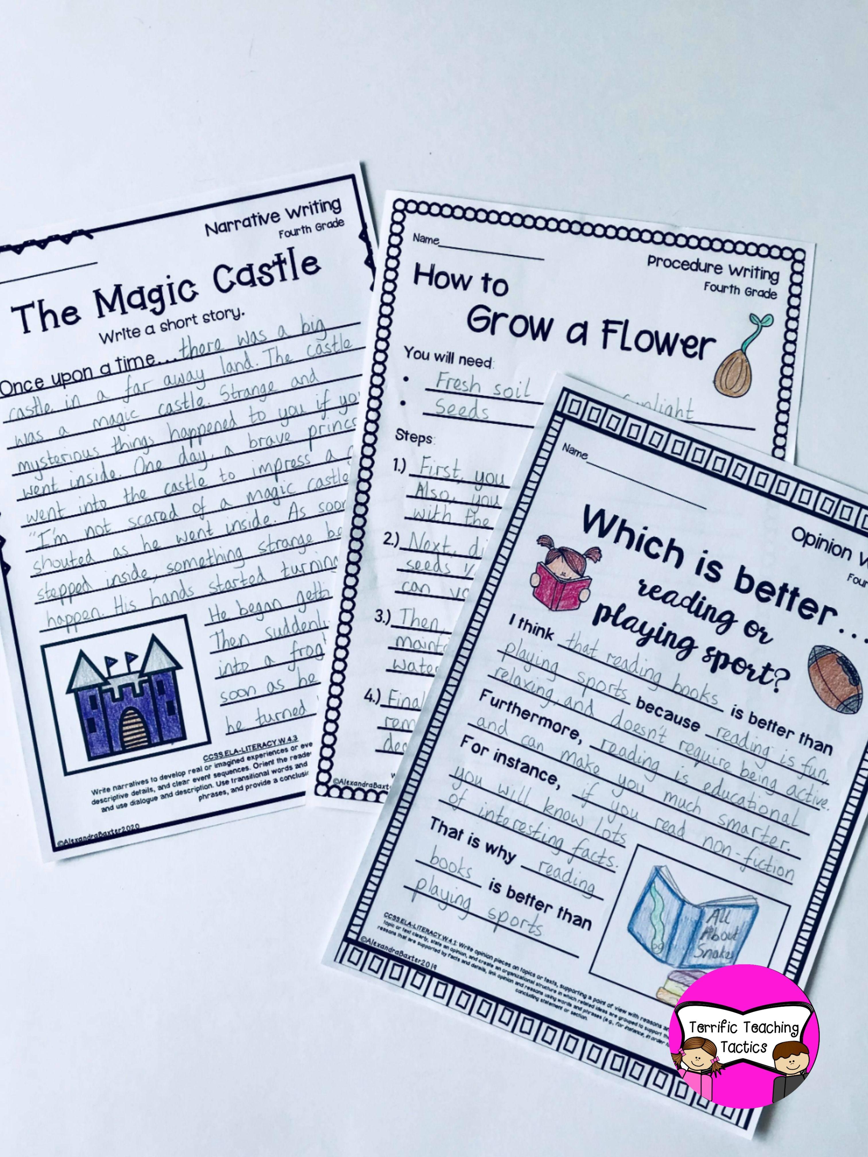 Fourth Grade Writing Worksheets Prompts Bundle Opinion Narrative Procedure Fourth Grade Writing Ela Worksheets Writing Worksheets [ 4032 x 3024 Pixel ]