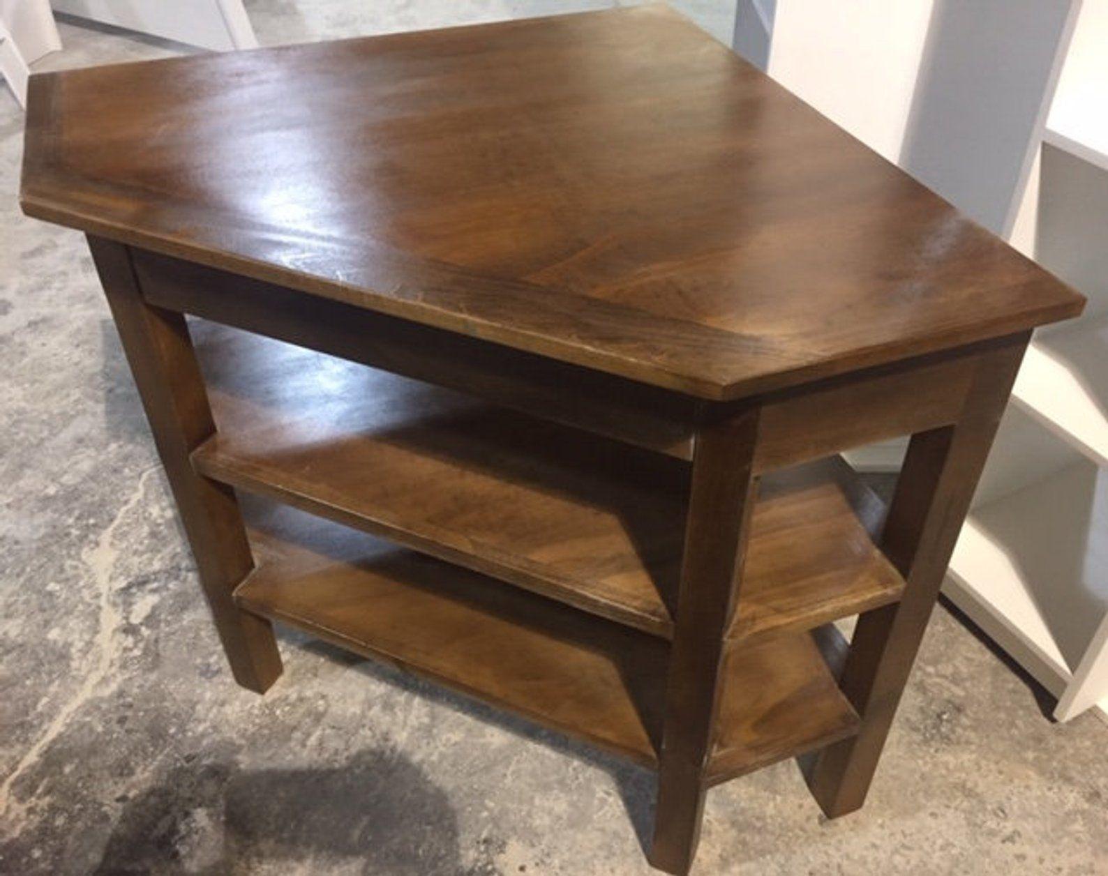 Table Dangle Fabriques A La Main En Bois Massif Etsy Corner Table Corner Table Designs Corner Table Living Room