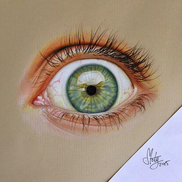 3d Art De Couleur Dessine Dessin Oil Peinture Crayon Eye Drawing Color Pencil Art Eyes Artwork