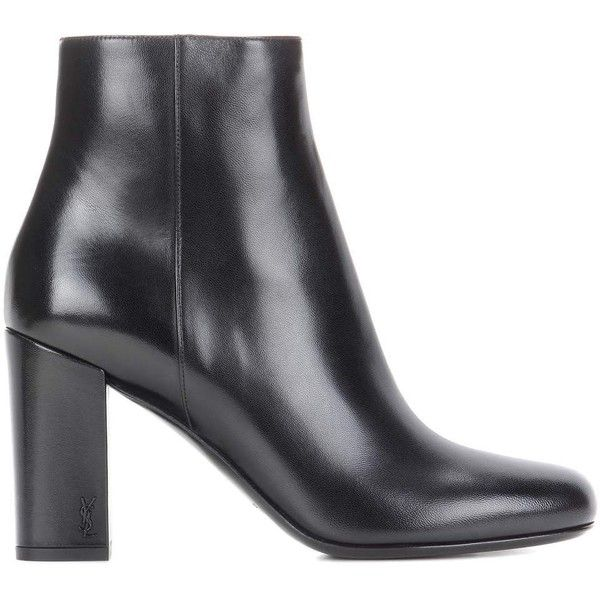 Saint Laurent Babies 90 Leather Ankle Boots (13,860 EGP) ❤ liked on Polyvore featuring shoes, boots, ankle booties, leather booties, short black boots, ankle boots, black leather boots and leather bootie