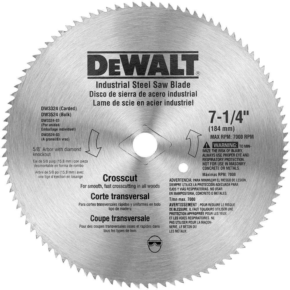 Dewalt 714 in 100teeth steel crosscut saw blade saw