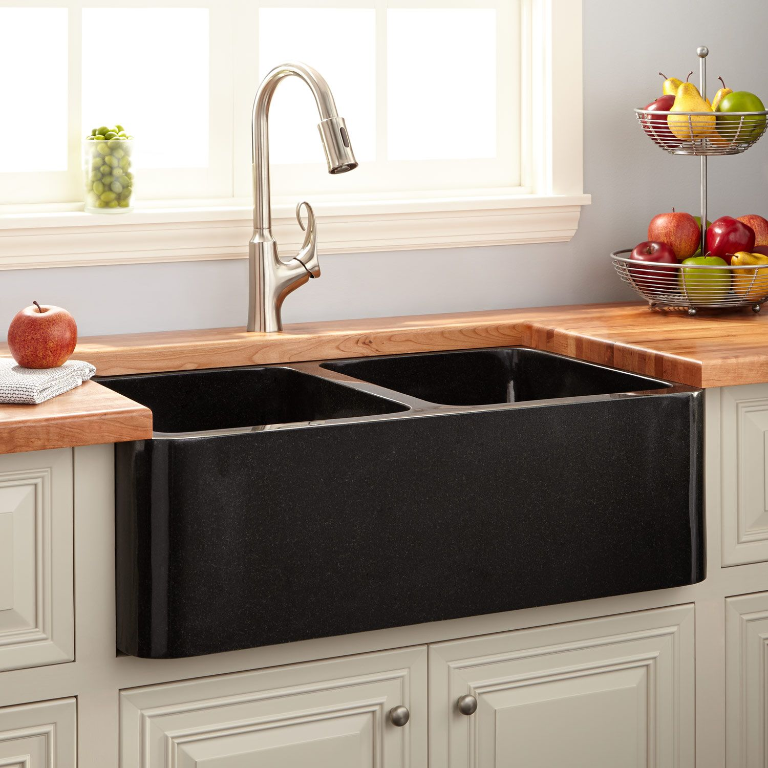 "36"" Polished Granite Double-Bowl Farmhouse Sink - Black"
