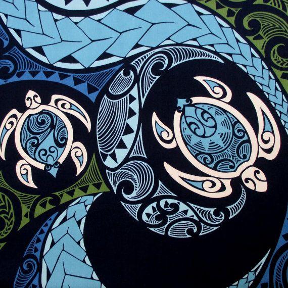 Fabric, Hawaiian Honu Sea Turtle Swirl, Polynesian Tapa Tattoo ... : hawaiian quilt tattoo - Adamdwight.com